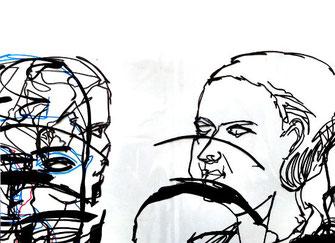 4 Gesichter, Folien Zeichnung