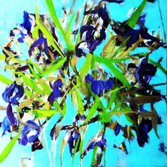 abstrakes Blumenbild, kreisförmig Türkis, blaue blüten