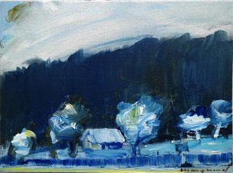 Landschaft, Wald, Winter, Haus