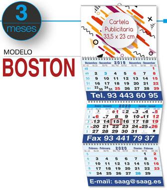 Calendario de pared 3 meses vista plegable faldilla internacional