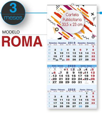 Calendario de pared publicitario faldilla 3 meses vista internacional