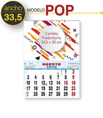 Calendario de pared con cartela publicitaria 33,5