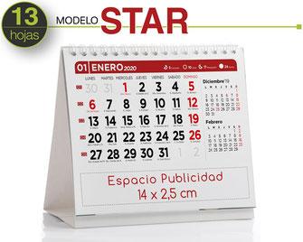 Calendario sobremesa de carton personalizado