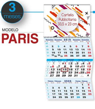 Calendario 3 meses vista plegable con hendidos