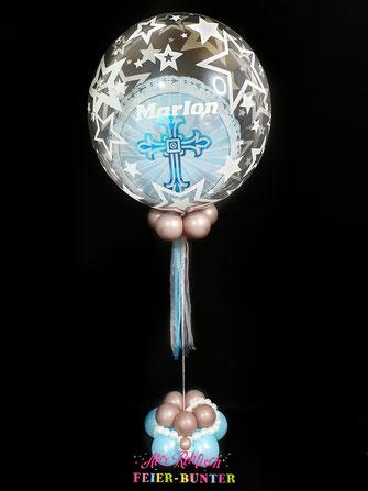 D 025 - Ballon Tischdekoration - Heliumgefüllter Double Bubble Ballon mit Ballonsockel ( Folien & Bubble Ballon und hochwertige Latexballons verbunden durch Stoffschleifenband) incl. Lackstift Beschriftung - 34,90€