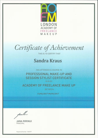 Makeup Artist & Hairstylist Zertifikat / Certificate - AOFM - Academy of Freelance Makeup London