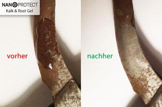 Nanoprotect-Kalk&Rost Gel entfernt Flugrost