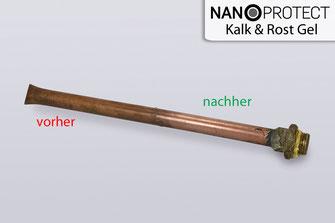 Nanoprotect-Kalk&Rost Gel entfernt Oxidation von Kupferrohren