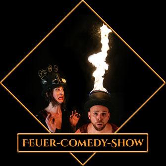 Feuer-Comedy-Show für Straßenkunstfestivals