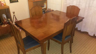 relooking de meuble table a manger damier bois gris le mans sarthe