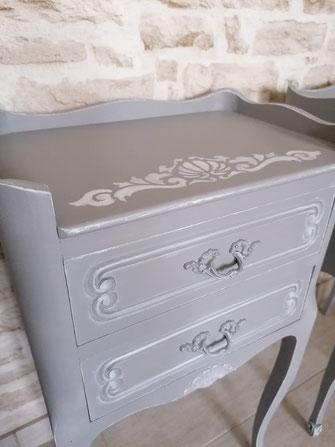 relooking de meubles chevet louis gris patine blanc le mans sarthe