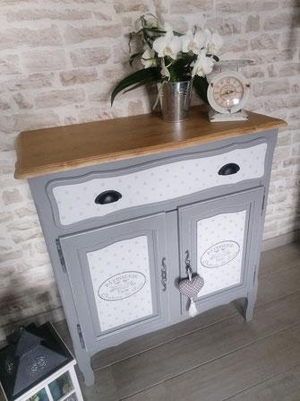 relooking de meuble le mans sarthe buffet gris et bois blanc pois perche