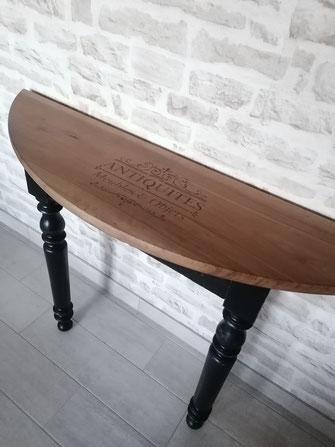relooking de meuble le mans sarthe console diy pochoir noir bois chic