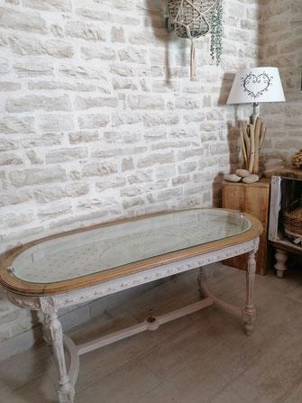 relooking de meuble le mans sarthe table basse louis campagne pois beige bois
