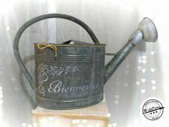 Arrosoir en zinc location decoration mariage vintage champetre le mans sarthe m'elledecors