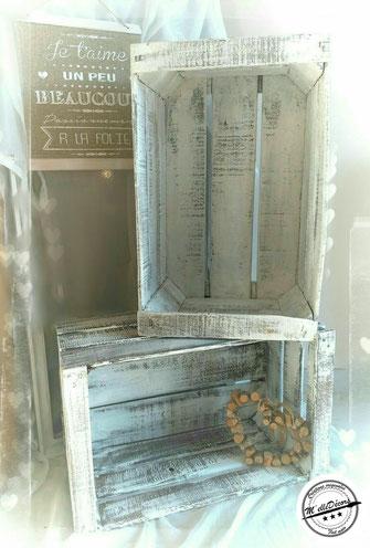 Caisses à pomme blanchi: quantité 10, 55x35cm et 30cm de hauteur Tarif location: 6€ l'unité Caution:15€ l'unité