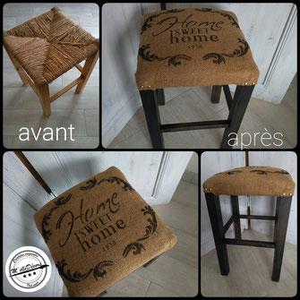 relooking de meuble tabouret vintage noir et jute home sweet home campagne le mans sarthe