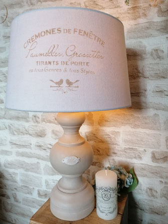 lampe relooké shabby chic