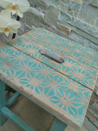 relooking de meuble tabouret d'atelier ancien vert exotique vegetal le mans sarthe