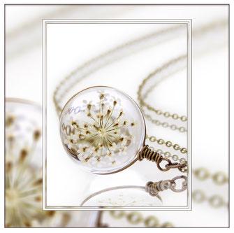 Wilma ° The Wild Flower ° - Wilde Möhre Kette Zauberhafte Handgemachte Blütenkette mit der Blüte einer Wilden Möhre.     * Designed and Manufactured by Elfgard® Germany