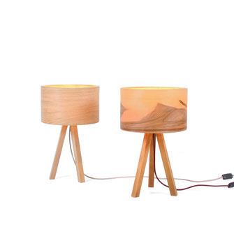 Tischlampe Tría Mikrá Wood, Leuchte aus Holz