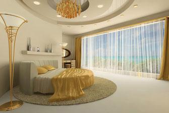 Kreisformig abgehängte Decke mit integrierten Leuchtstrahlern und Spotlampen