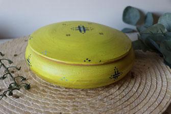 boite a bijoux-terre cuite-artisanale-jaune-vintage-motifs berberes
