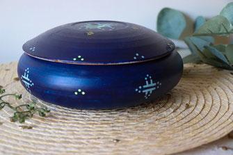 boite a bijoux-terre cuite-artisanale-bleu marine-motifs berberes