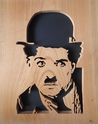 Portrait de Charlie Chaplin - Atelier Eclats de bois