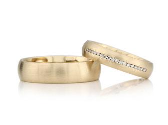 Diamant, Princesscut, Gelbgold, Trauringe, Eheringe