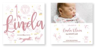 Geburtskarte für Mädchen Schweiz Geburtsanzeige kartendings.ch