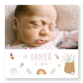 Dankeskarte Schweiz Baby kartendings kreativ originell Mädchen