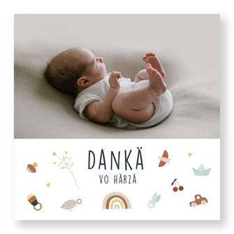 Dankeskarte Schweiz Baby kartendings kreativ originell Junge
