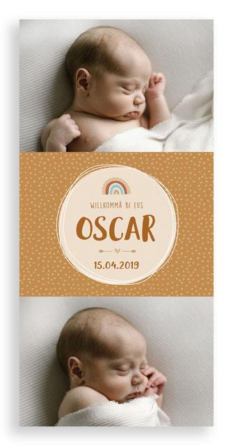 Geburtskarte Geburtsanzeige Schweiz Kartendings.ch 4-seitig Klappkarte Blumenkranz