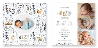 Geburtskarte kartendings.ch Schweiz Geburtsanzeige Babykarte Reh Fuchs Bär Igel Waldtiere
