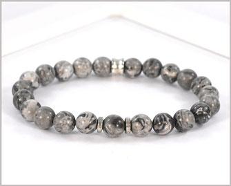 Edelsteinarmband für Männer mit  Jaspis in grau-silber Optik