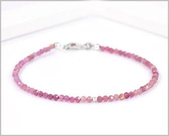 Turmalin rosa Edelsteinarmband mit 2 mm mit 925 Silber