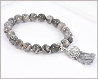 Jaspis Edelstein Armband mit Mandala  und Quaste  21,90 €