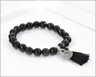Obsidian Edelstein Armband 8 mm mit Mandala und Quaste