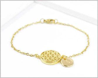 Armband vergoldet mit Blume des Lebens  und Wunschbuchstaben  14,90 €