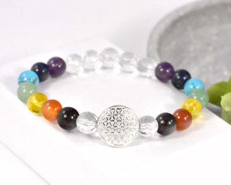 Chakra Edelstein Armband mit Bergkristall Perlen 8 mm, Blume des Lebens 925 Silber  29,90 €