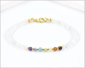 Amethyst, Iolith, Apatit, Peridot, Citrin, Karneol, Granat und Bergkristall Edelstein Armband  39,90 €