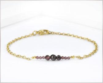 Granat Edelstein Armband  2 - 5 mm mit Edelstahl vergoldet  Länge wählbar  19,90 €