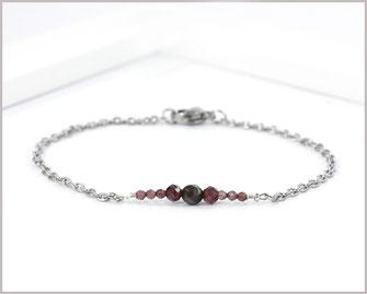 Granat Edelstein Armband  2 - 5 mm mit Edelstahl Länge wählbar  19,90 €