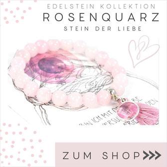 Rosenquarz rosa Edelstein Armband und 925 Silber Verschluß