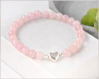 Rosenquarz Edelstein Armband mit Herz  22,90 €