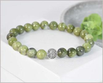 Jade grün Edelstein Armband mit Stardustperle  19,90 €