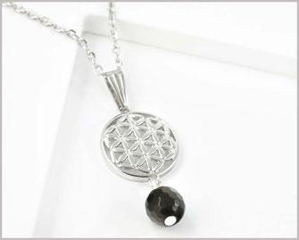 Edelstahl Kette  mit Blume des Lebens  Edelstein Obsidian  15,90 €