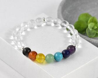 Chakra Edelstein Armband mit  Bergkristall Perlen 8 mm  21,90 €