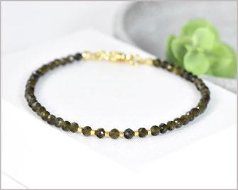 Edelstein Armband mit 3 mm goldglanz Obsidian kombiniert mit Myuki Perlen  34,90 €
